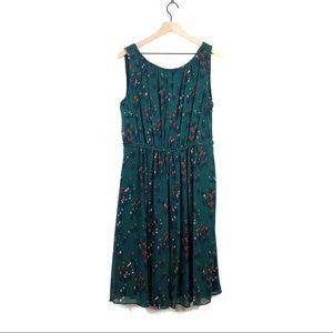 Boden Green Tulip Maria Floral Chiffon Dress